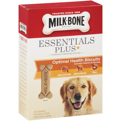 Milk-Bone Essentials Plus+ Optimal Health Dog Biscuits - for Medium/Large-Sized Dogs, 22-Ounce (Pack of 4)
