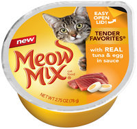 Meow Mix Tender Favorites with Real Tuna and Egg in Sauce Wet Cat Food, 2.75-Ounce Cup