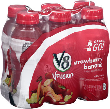 V8® V-Fusion® Strawberry Banana Flavored Fruit & Vegetable Juice 6-12 fl. oz. Plastic Bottles