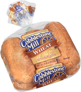 Cobblestone Mill® Wheat Sub Rolls 6 ct Bag