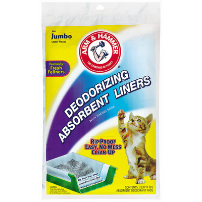Arm & Hammer Jumbo Deodorizing W/Baking Soda Absorbent Liners 2 Ct Peg