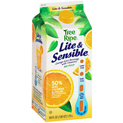Tree Ripe Lite & Sensible Orange Juice Beverage with Vitamins No Pulp