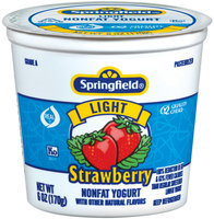 Springfield Light Strawberry Yogurt 6 Oz Cup