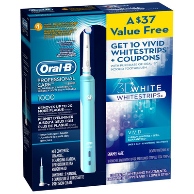 Oral-B Professional Care 1000 & Crest 3D Whitestrips Vivid Electric Toothbrush Kit