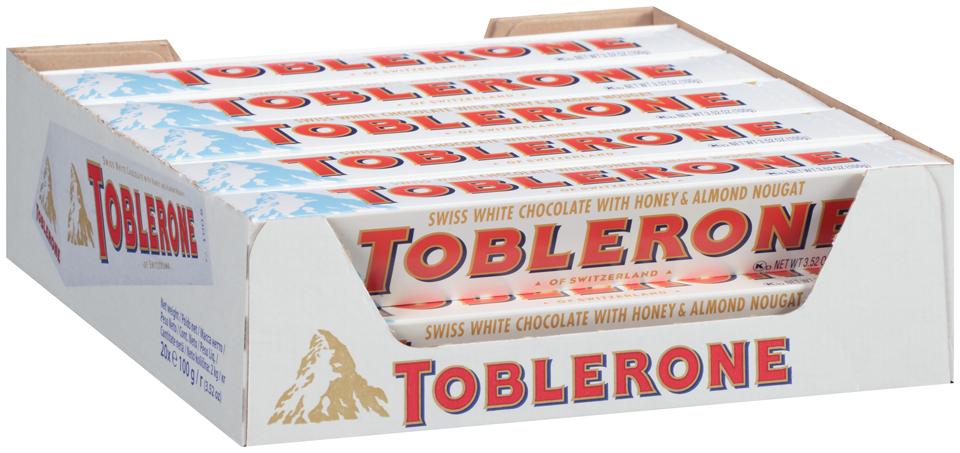 Toblerone Swiss White Chocolate with Honey & Almond Nougat 20-3.52 oz. Boxes
