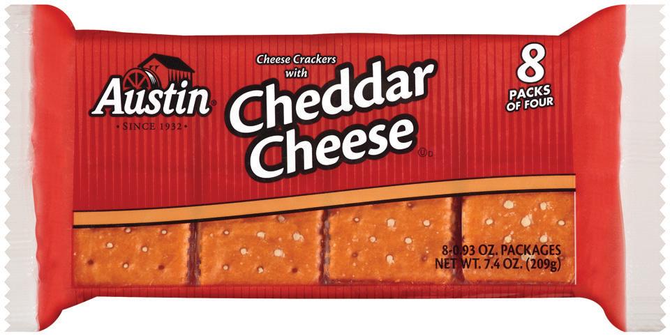 Austin Cheese W/Cheddar Cheese 8 Ct Cracker Sandwiches 7.4 Oz Bag