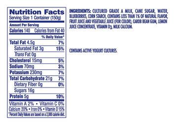 Dannon Whole Milk Blended Yogurt Blueberry 5.3oz Cup