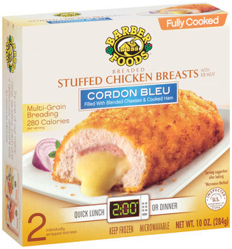 Barber Foods Fully Cooked Cordon Bleu 2 Pack Stuffed Chicken Breasts 10 Oz Box