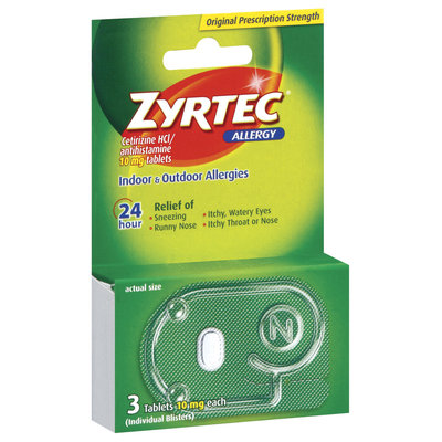 Zyrtec® Allergy 24 Hour 10mg Tablets 3 Ct Peg