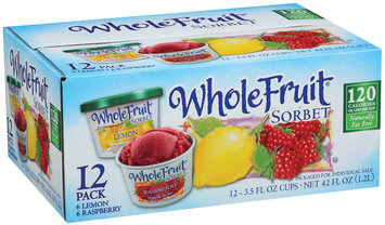 Whole Fruit Lemon & Raspberry 3.5 Oz Cups Sorbet 12 Ct Carton