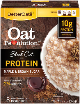 BetterOats® Oat Revolution!® Steel Cut with Protein Maple Brown Sugar Instant Oatmeal 12.7 oz. Box