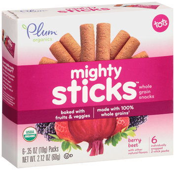 Plum® Organics Tots Mighty Sticks™ Berry Beet Whole Grain Snacks 6-.35 oz. Box