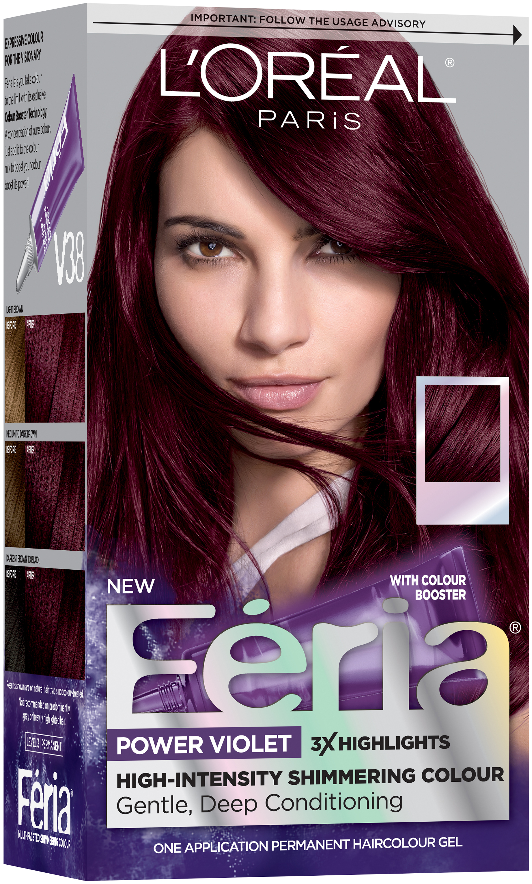 L'Oréal® Paris Feria® Power Violet V38 Intense Deep Violet Hair Color 1 Kit Box
