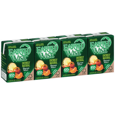 Earth Wise Entirely Natural Harvest Select 4.23 Oz 100% Juice 4 Ct Aseptic Pk