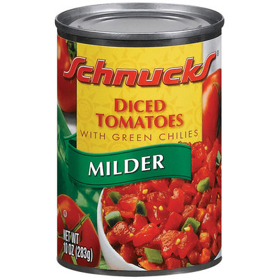 Schnucks Milder W/Green Chilies Tomatoes Diced 10 Oz Can