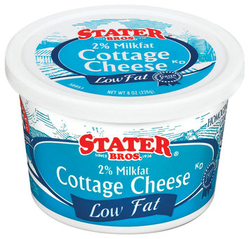 Stater Bros. Low Fat 2% Milkfat Cottage Cheese 8 Oz Tub