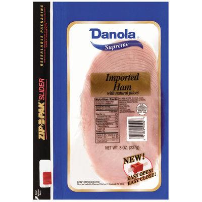 Danola Supreme W/Natural Juices Sliced Ham Imported 8 Oz Zip Pak