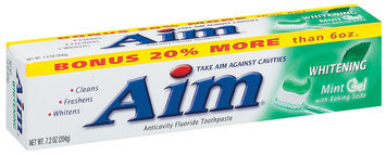 Aim Whitening Mint Gel W/Baking Soda Toothpaste 7.2 Oz Box