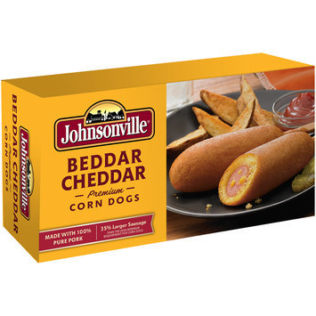 Johnsonville Beddar Cheddar Premium Corn Dogs  20oz 8ct box (102637)