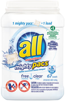 all® free clear mighty pacs® Laundry Detergent 67 Loads 2.95 lb. Tub