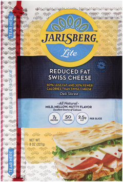 Jarlsberg® Lite Reduced Fat Swiss Cheese Pre-Sliced 8 oz. Shingles