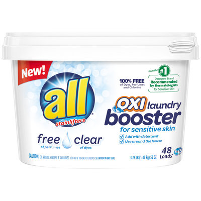 all® free clear OXI Laundry Booster for Sensitive Skin 48 Loads 3.25 lb. Tub