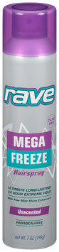 Rave® Mega Freeze Unscented Hairspray 7 oz. Aerosol Can