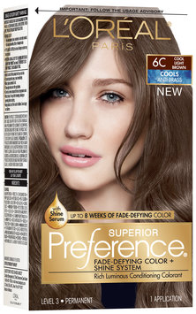 L'Oréal® Paris Superior Preference® Cools Anti-Brass 6C Cool Light Brown Hair Color 1 Kit Box