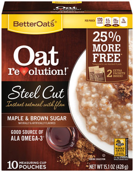 Better Oats® Oat Revolution!® Oat Revolution! Maple & Brown Sugar Steel Cut Instant Oatmeal with Flax 10 ct Pouches