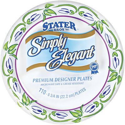 Stater Bros. Simply Elegant Premium Designer 8 3/4 In Plates 110 Ct Wrapper