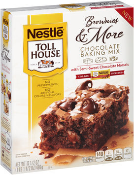 Nestlé TOLL HOUSE Brownies & More Chocolate Baking Mix with Semi-Sweet Chocolate Morsels, 17.5 oz Box
