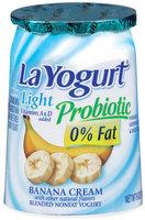 La Yogurt® Light Probiotic Banana Cream Blended Nonfat Yogurt 6 oz Cup
