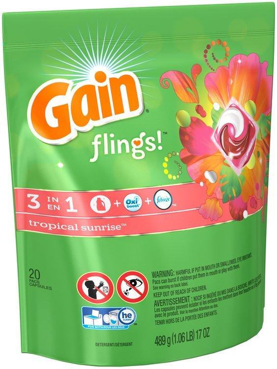Gain flings! Laundry Detergent Pacs, Tropical Sunrise, 20 count