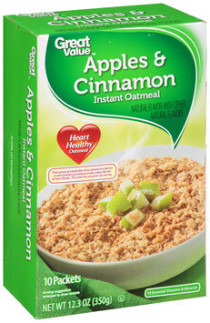 Great Value: Apples & Cinnamon Instant Oatmeal, 12.3 oz