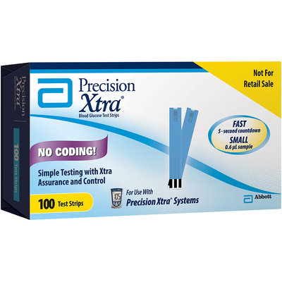 Precision Xtra® Blood Glucose Test Strips 100 ct. Box Not for Retail Sale