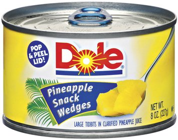 Dole Canned Fruit In Clarified Pineapple Juice Pineapple Snack Wedges 8 Oz Pull-Top Can