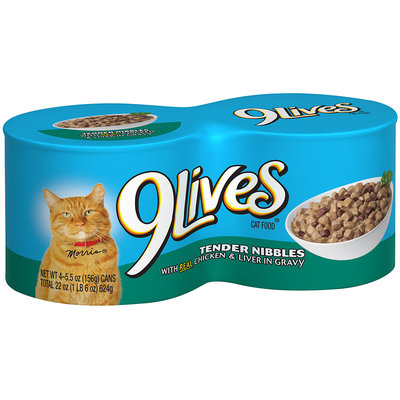 9Lives® Tender Nibbles with Real Chicken & Liver in Gravy Wet Cat Food 4-5.5 oz. Cans