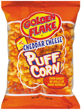 Golden Flake Cheddar Cheese Flavored Puff Corn 7 Oz Bag