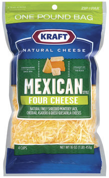 Kraft Natural Cheese Mexican Style Four Cheese Finely Shredded Shredded Cheese 16 Oz Zip Pak