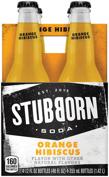 Stubborn Soda™ Orange Hibiscus 4-12 fl. oz. Glass Bottles