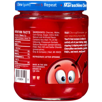 CherryMan® Jumbo with Stems Maraschino Cherries 12 oz. Jar