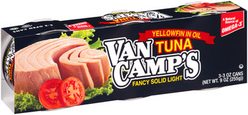 Van Camp's Fancy Solid Light Yellowfin Tuna in Oil 3-3 oz. Cans