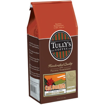 Tully's Coffee Spirited Ground Light Roast Colombia 12 Oz Stand Up Bag