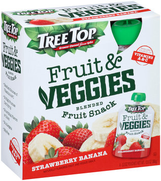 Tree Top® Fruit & Veggies Strawberry Banana Blended Fruit Snack 4-3.2 oz. Pouches