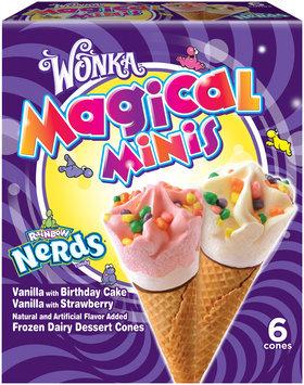 WONKA Frozen Dairy Dessert Cones, Magical Minis with Rainbow Nerds, 6 ct.
