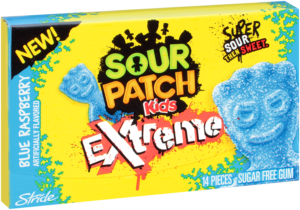 Stride Sour Patch Kids Extreme Blue Raspberry Sugar Free Gum