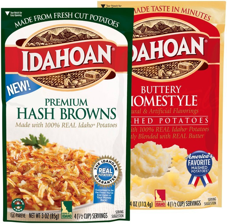Idahoan® Premium Hash Browns Pouch and Buttery Homestyle Mashed Potatoes Pouch Group Shot
