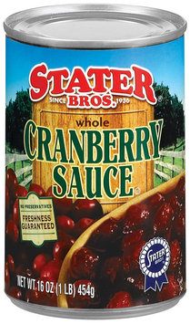Stater Bros. Whole Cranberry Sauce 16 Oz Can