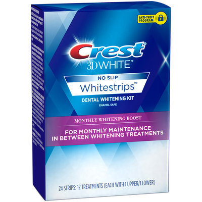 WS Daily Whitening&Tartar Prot Crest 3D White Whitestrips Monthly Whitening Boost, 12 Treatments