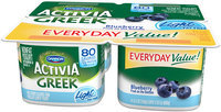 Dannon® Activia® Blueberry Greek Light Yogurt  5.3 oz. 4 pk. Cups